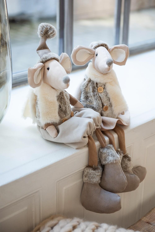 Set 2 zittende muizen textiel grijs/beige