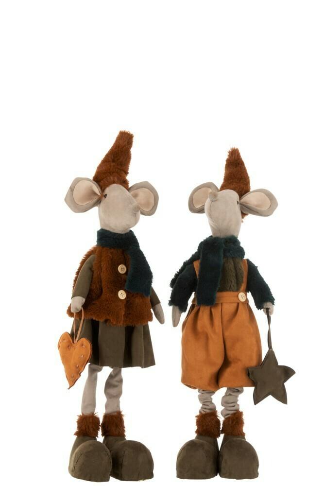 Set 2 staande muizen textiel oranje/bruin Large