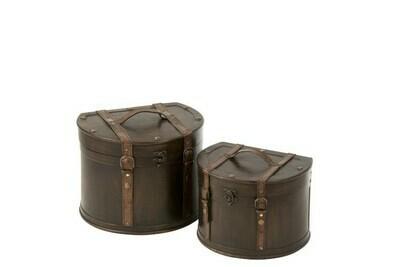 Set van 2 koffers half rond hout bruin