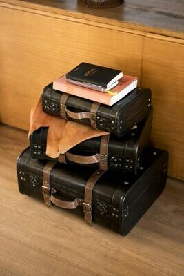 Set van 3 valiezen hout bruin