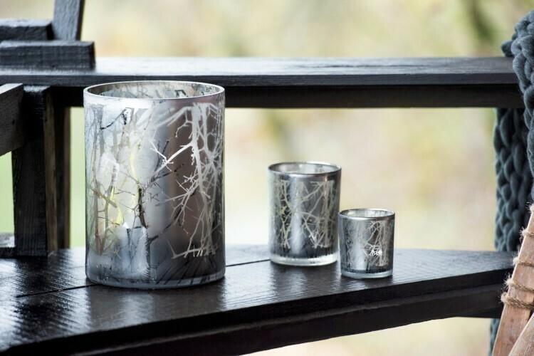 Theelichthouder Takken Glas Grijs Small