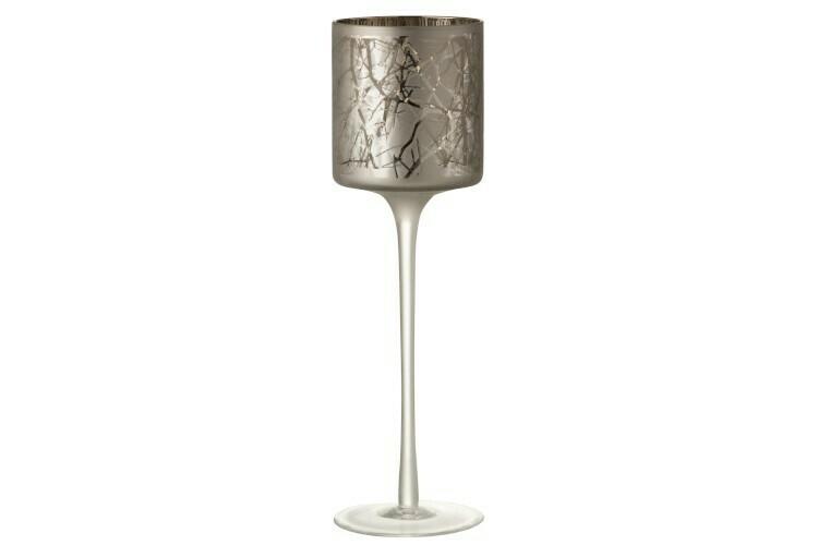 Theelichthouder Op Voet Takken Glas Grijs Large