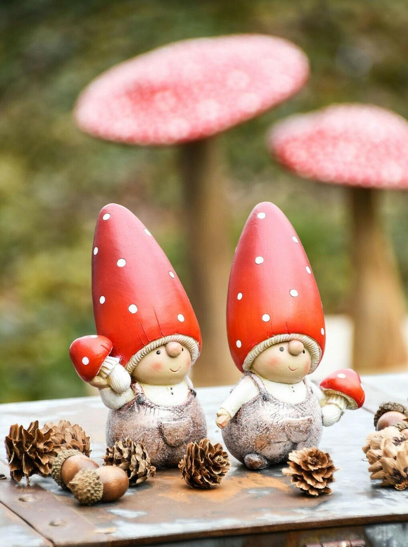 Set 2 herfstkindjes met paddenstoel