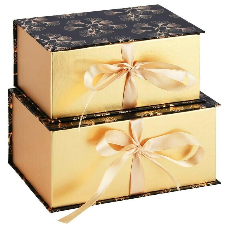 Set 2 dozen met lint goud/zwart