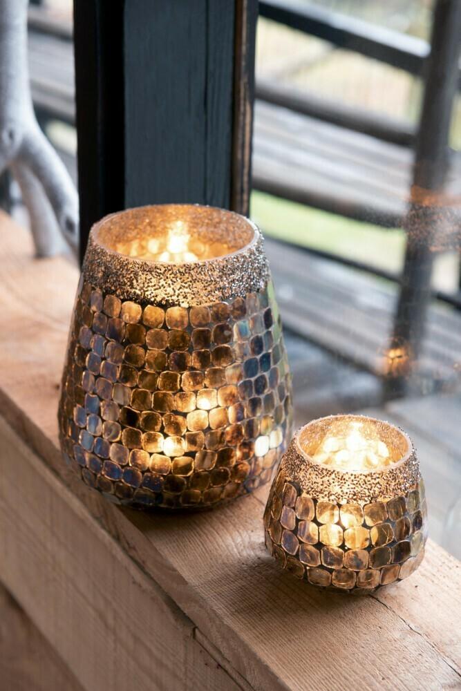 Windlicht Parel/Tegel Glas