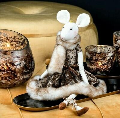Muis zittend beige met kroontje