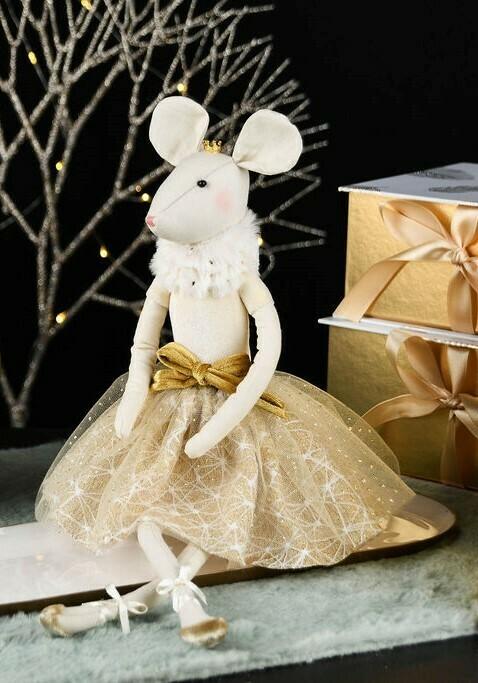 Muis zittend goud met kroontje