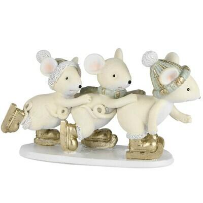 Trio schaatsende muizen naturel/munt