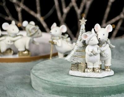 Koppel muizen met kerstboom naturel/munt