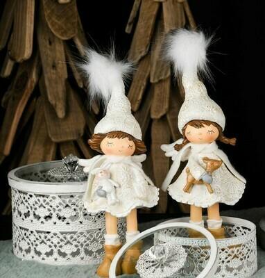 Set 2 meisjes staand met rendier/konijn