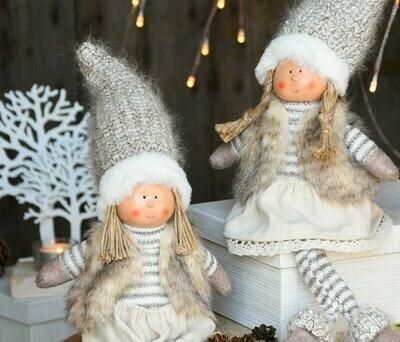 Set 2 popjes zittend met hangbenen wit/beige