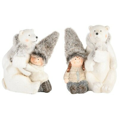 Set 2 winterkindjes met ijsbeer