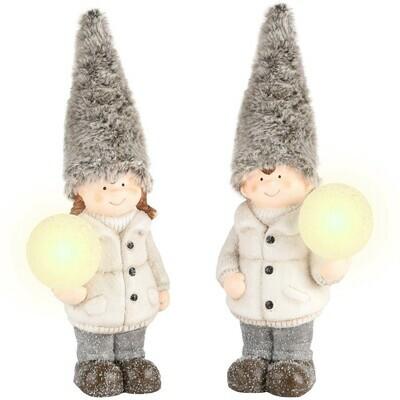 Set 2 winterkindjes grijs met sneeuwbal LED