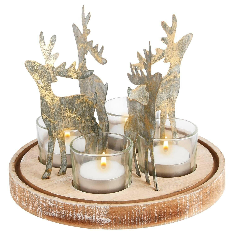 Tafelstuk met rendieren 4 theelichten