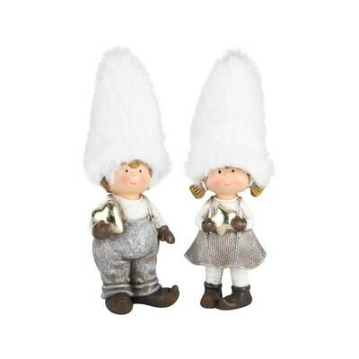 Set 2 kindjes staand met bontmuts wit/grijs klein