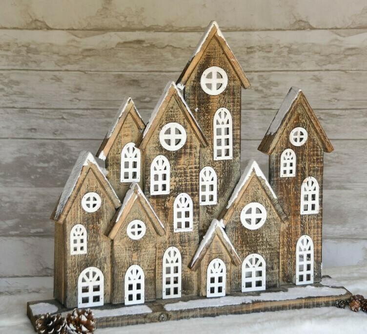 Huizenrij hout naturel/wit LED