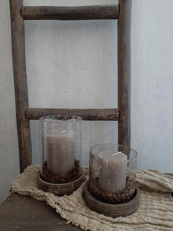 Set 2 windlichten met deksel (gevuld)