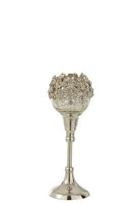 Theelichthouder Op Voet Juweel Metaal/Aluminium/Glas Zilver Small