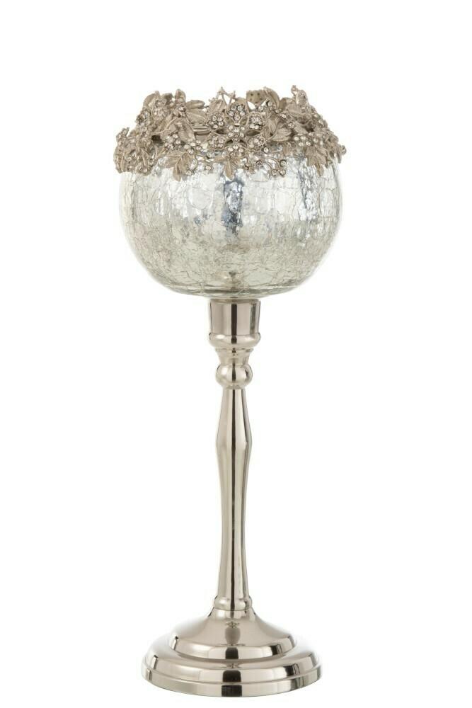 Theelichthouder Op Voet Juweel Metaal/Aluminium/Glas Zilver Large