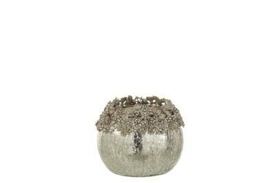 Theelichthouder Juweel Metaal/Glas Zilver Medium