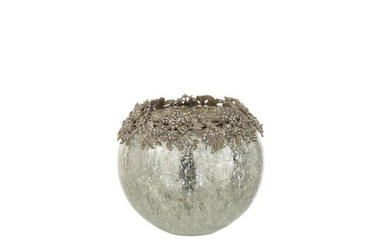 Theelichthouder Juweel Metaal/Glas Zilver Large