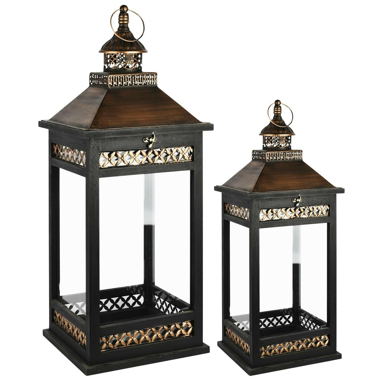 Set 2 lantaarns zwart/koper