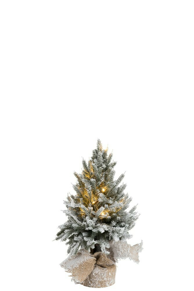 Kerstboom+Led+Pot Jute Plastiek Besneeuwd Groen Small
