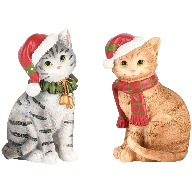 Set 2 poesjes met kerstmuts