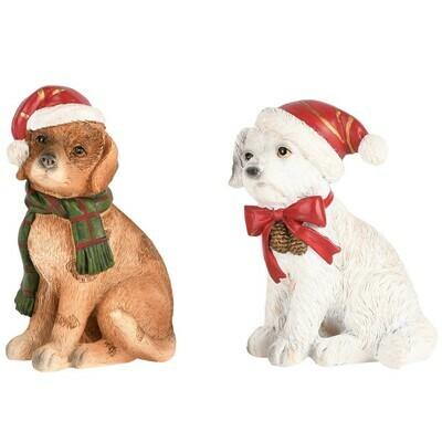 Set 2 hondjes met kerstmuts