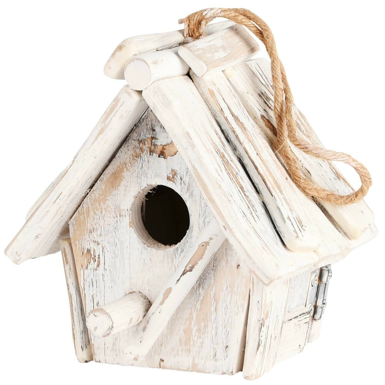 Vogelhuisje hout wit