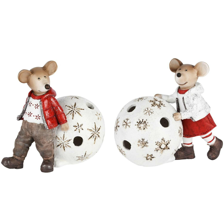 Set 2 muizen met bal LED