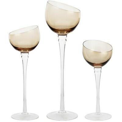 Set 3 theelichthouders op voet bruin glas
