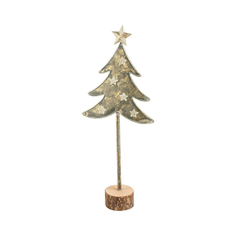 Deco boom met sterren metaal/hout klein