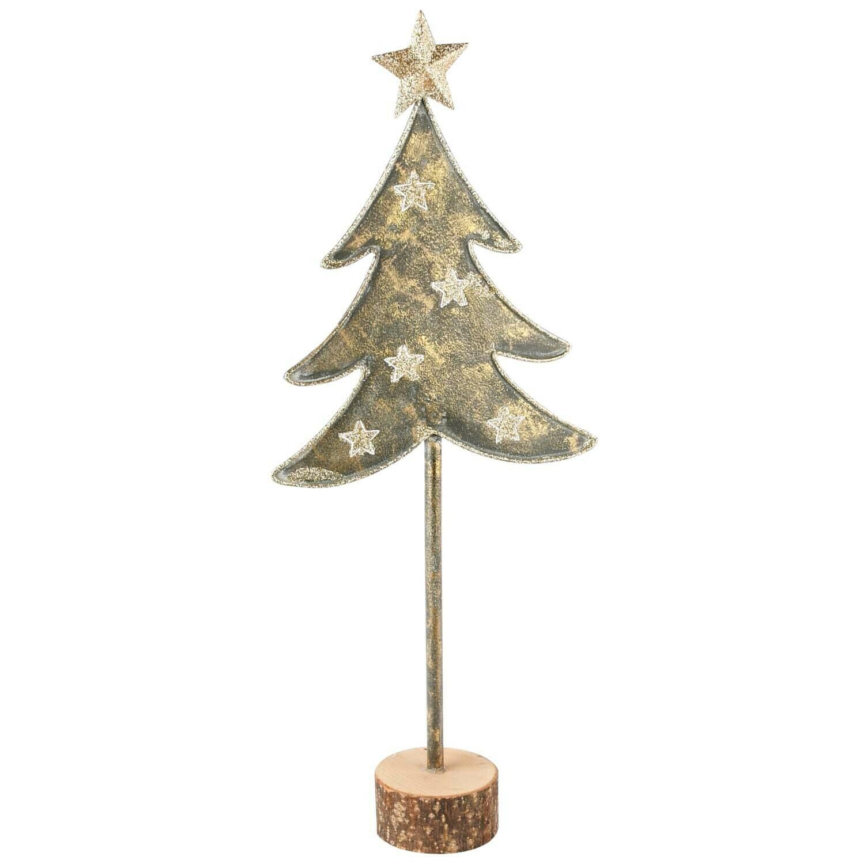Deco boom met sterren metaal/hout groot