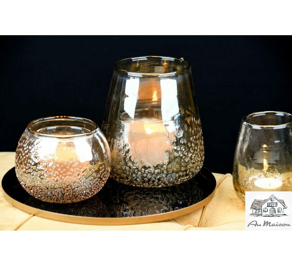 Theelicht transparant goud 'Grained' glas (midden)