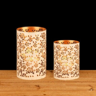 Set 2 kokers 'Wild Roses' wit wash off/goud