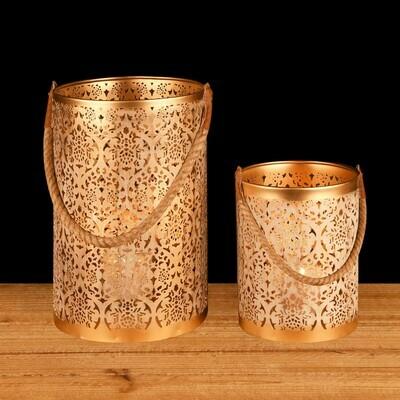 Lantaarn met koord 'Zen' wit/goud groot (links)