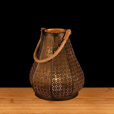 Lantaarn 'Mosaic' met koord zwart