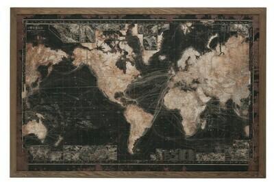 Kader Led Batterijen Wereldkaart Hout/Canvas Zwart/Bruin