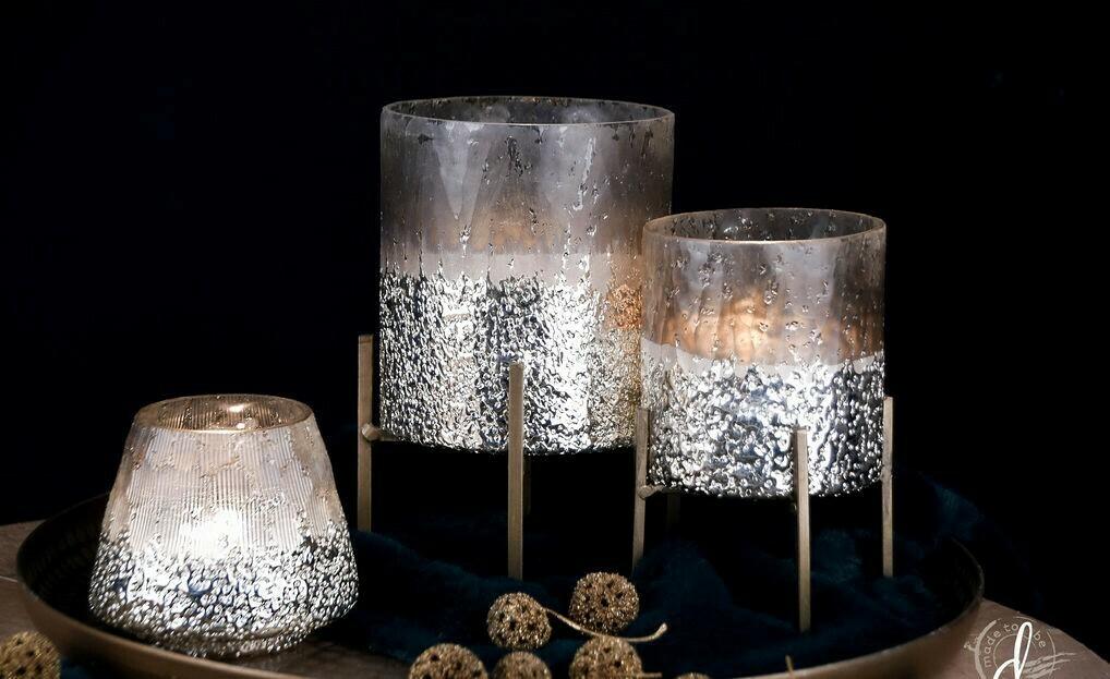 Theelichtglas op pootjes 'Crinkled' groot