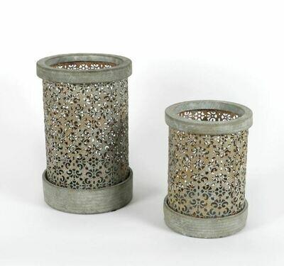 Lantaarn cement met metalen decoratie groot