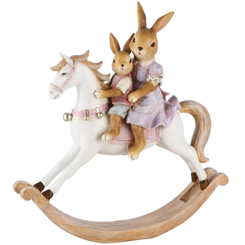 Bunny mama met kind op paard groot