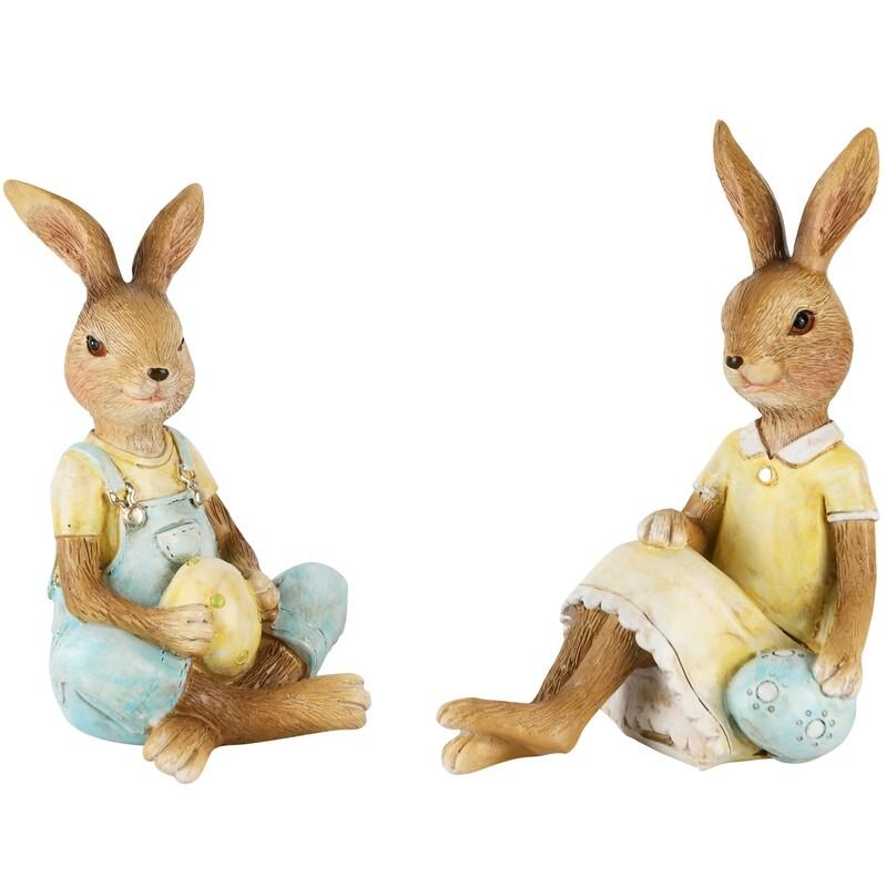 Set 2 bunnies zittend met ei