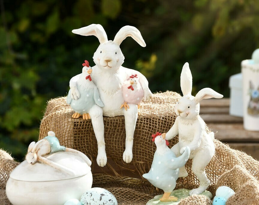 Konijn zittend met kippen