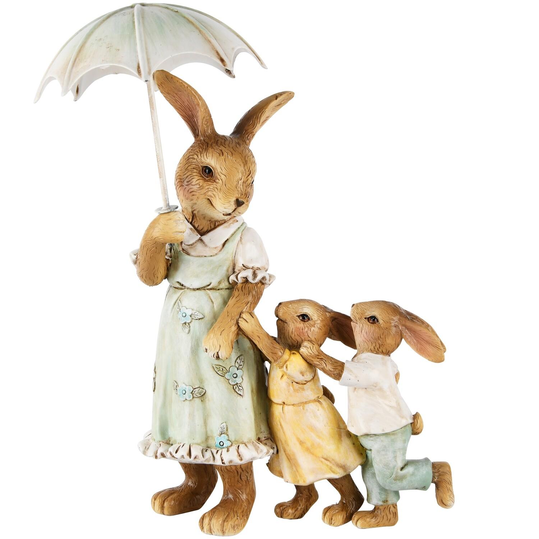 Bunny moeder met kinderen onder paraplu