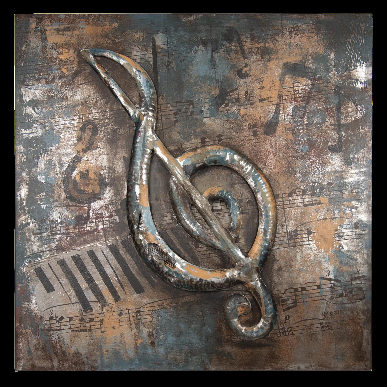 Schilderij metaal muzieksleutel