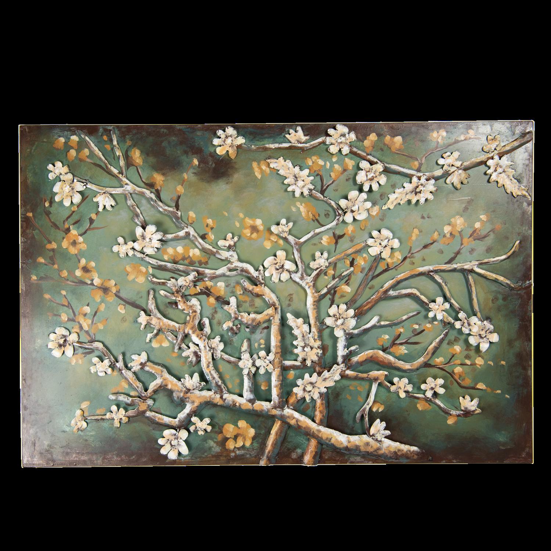 Schilderij metaal tak met bloesem