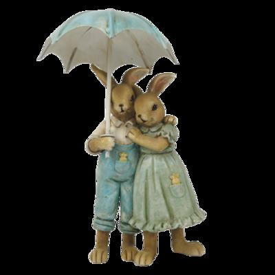 Konijn moeder & vader onder paraplu