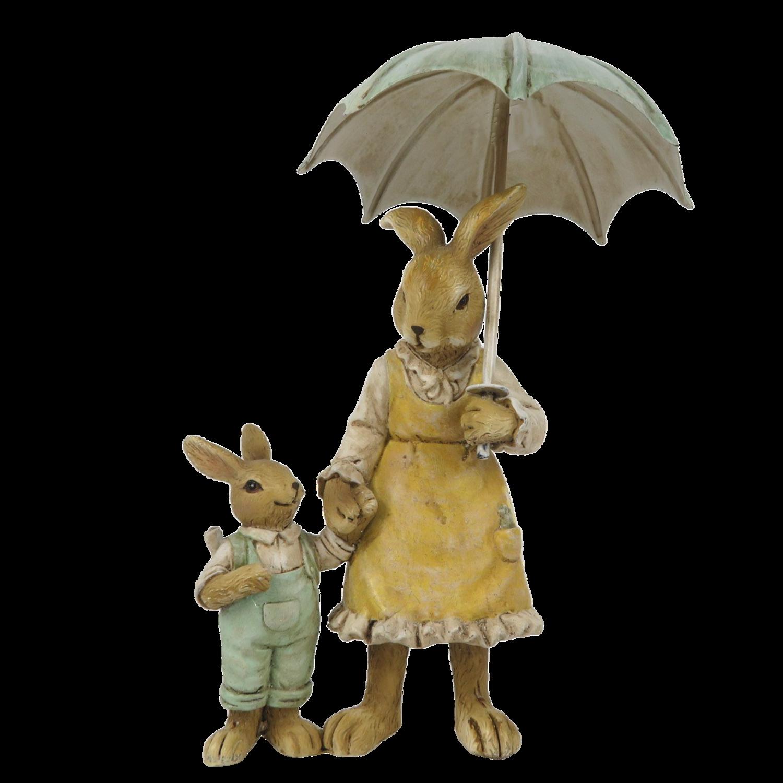 Konijntjes moeder met jongetje onder paraplu