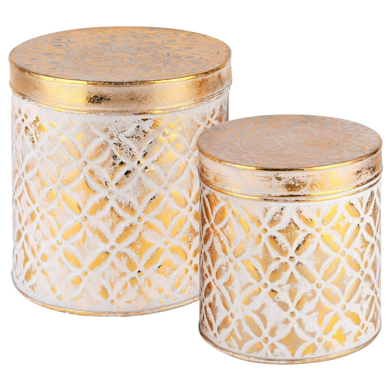 Set 2 tondozen wit/goud metaal